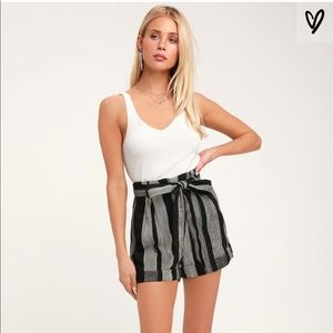 Black & White Striped Belted High Waisted Shorts